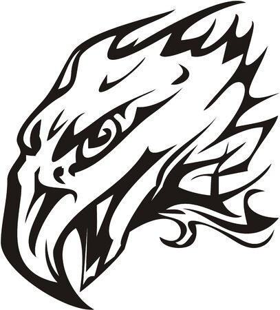 Eagle head symbol in tribal style. Flaming eagle head with open beak tattoo for your design. Black and white Иллюстрация