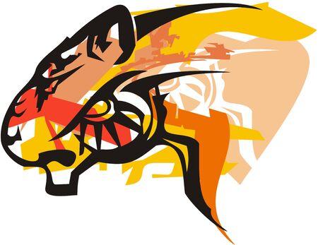 Tribal tiger head with orange splashes. Wild predator - tiger head symbol isolated on a white backdrop Иллюстрация