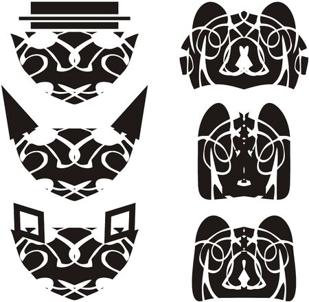 Original linear animals heads design elements. Unusual cat heads and bear heads in black and white tones for your design Иллюстрация