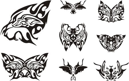 Roaring lion head symbol and butterflies formed from it. Abstract unusual flaming lion and butterfly wings patterns for a tattoo, an embroidery, decals and etc. Иллюстрация