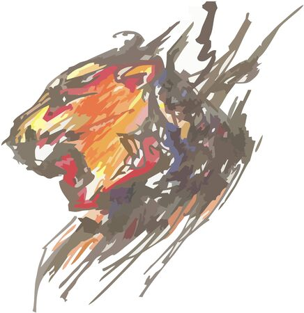Aggressive colorful lion head in grunge style. Abstract watercolor lion head splashes isolated on a white background