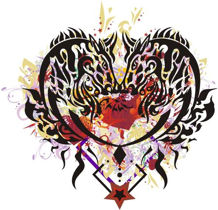 Abstract colorful horse heart symbol. An ornamental heart formed by horse heads with floral splashes, asterisks, gold elements and red hearts inside