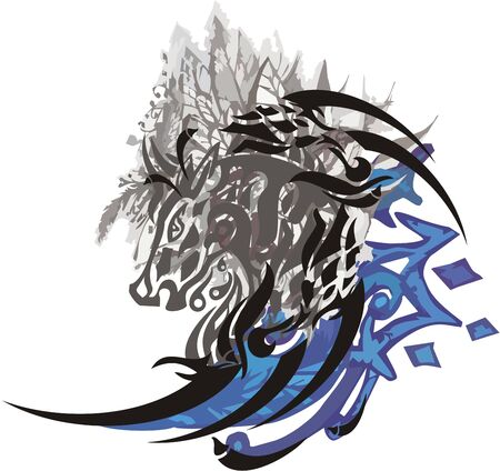 Horse symbol with leaves elements. Abstract horse head linear silhouette in gray and blue colors on a white background for your design