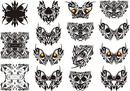 Abstract tribal butterflies and decorative symbols. Ethnic butterfly symbols like owl eyes, ornate eye and other elements formed from it isolated on white  イラスト・ベクター素材