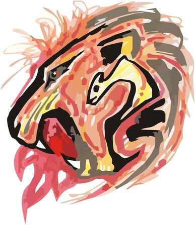 Fiery aggressive lion head symbol. Roaring  lion head splashes with fire in red and black tones for your design