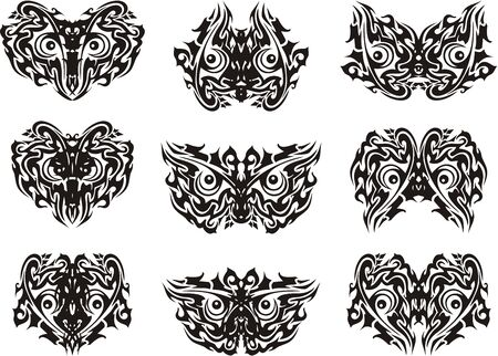 Tribal ornate eyes in the butterfly or animal form. Abstract ethnic butterfly wings symbols like owl eyes and other decorative heads elements for your design isolated on white