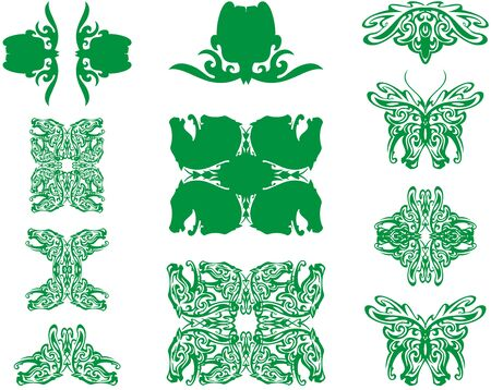 Decorative elements created by horse head and flower. Green butterfly, floral and horse symbols isolated on white for tattoo, prints, labels, etc.