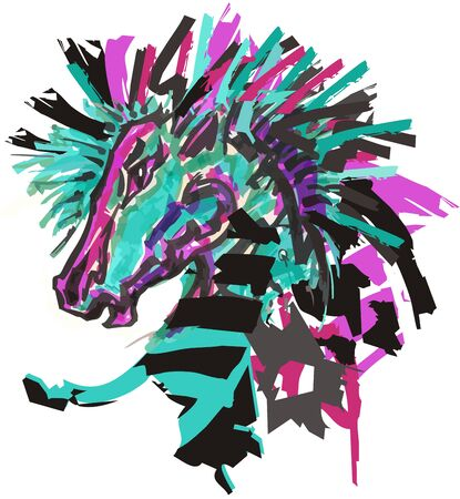 Colorful zebra head in green and purple tones. Hand-drawn Vector illustration of zebra horse in grunge style