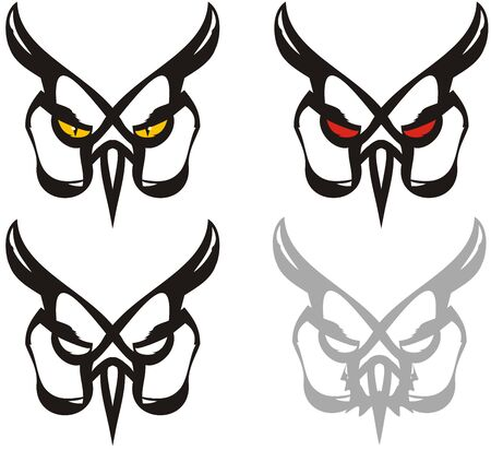 Tribal owl mask - four options. Elegant unusual tribal outline owl symbol isolated on white for your design