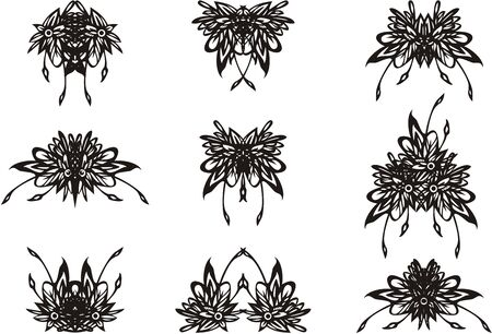 Black and white decorative tropical floral symbols. Floral motifs can be used for textiles, tattoos, greeting cards, as decorative element, emblems, prints, etc.