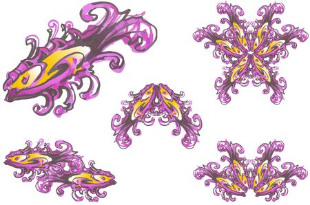 Abstract color ornate fish symbols. Fish in purple-orange tonality, double emblems of fish and fish forming flower isolated on white for your projects Foto de archivo - 140206499