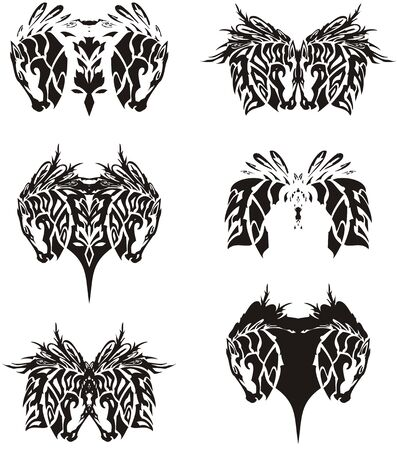 Tribal double horse head symbols. A decorative set of horse head with an eagle feathers elements. Textural double symbols for embroidery, tattoo, textile, decoration, ornate compositions