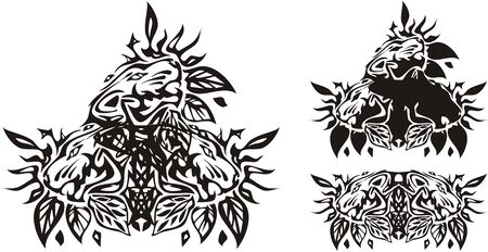 Tribal three tiger heads with leaves. Tiger head symbols in leaves - double and triple for your creative design, tattoo, embroidery, engraving, etc. Иллюстрация