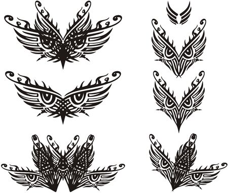 Tribal ornate eyes symbols such as a feather. Beautiful decorative eye symbols can be used as masks on carnivals or for embroidery, tattoo, textile, etc.