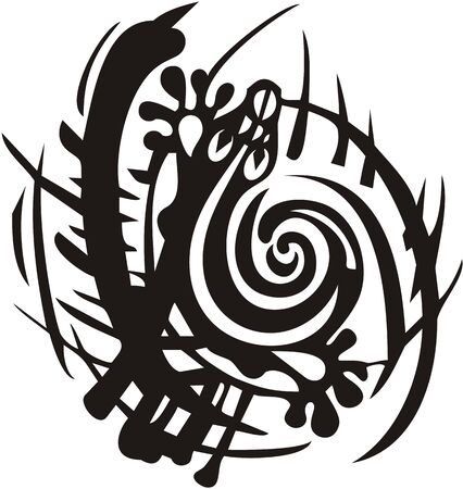 Tribal lizard symbol in grass. Beautiful decorative twirled lizard silhouette in a circle can be used for embroidery, tattoo, textile, vinyl cutting, etc.