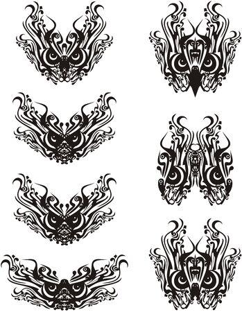 Tribal ornamental bird eyes symbols. Floral decorative symbols of owl eyes for carnival masks, tattoo, embroidery, textiles, prints, etc. Black on white 向量圖像