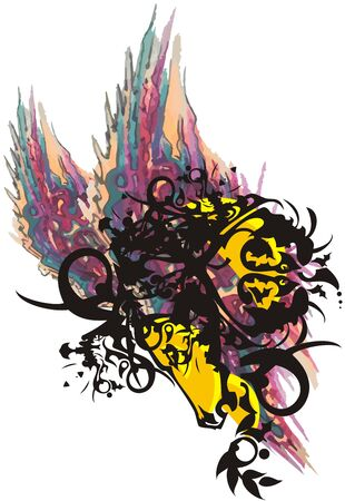 Awful ornamental colorful horse head splashes. Abstract decorative horse head amid tropical butterfly wings. Grunge horse head on a white backdrop Ilustrace