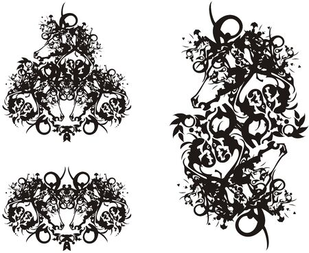 Abstract black and white horse head symbols. Ornamental double and triple horse head symbols on a white background for your design