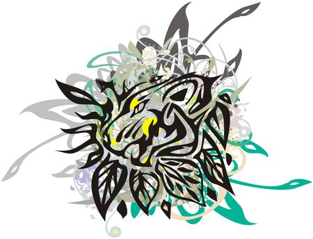 Grunge tiger head with leaves and color floral elements. Roaring tiger head with colorful floral splashes on white background for t-shirt prints, posters, tattoo, textile, etc.