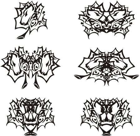 Animal head in the form of leaf and double symbols from it. Linear ornamental twirled set of leaves elements with lion or tiger head inside like as butterfly wings for embroidery, emblems, tattoo, engraving, etc. Black and white