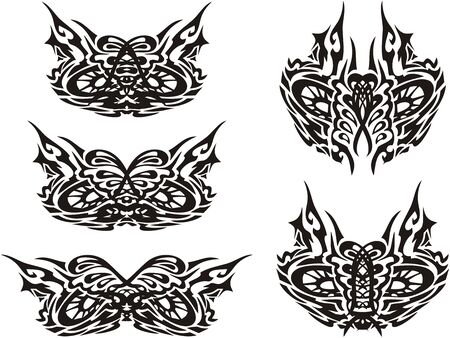 Tribal owl mask - ornate wise eyes. Ornamental symbols of owl eyes for carnival masks, engraving, tattoos, embroidery, textiles, prints, etc. Black on white Ilustracja