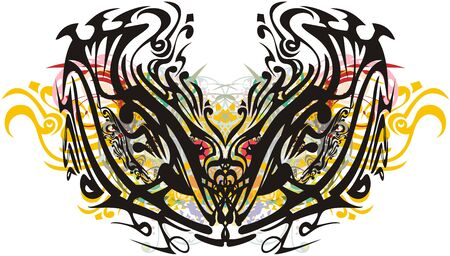 Ornamental colorful floral butterfly wings. Grunge abstract ethnic butterfly created by an artistic line with colorful twirled floral splashes on a white background for your design Ilustracja
