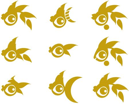 Golden fish symbols on white. A set of simple goldfish icons with a large eye on a white background for labels, embroidery, restaurant menu, tattoos, textiles, etc. Ilustracja