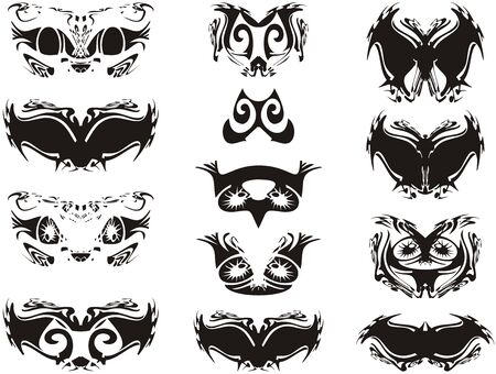 Ornamental silhouette of black and white mask symbols. Butterfly silhouettes and carnival masks for holidays and events isolated against a white background