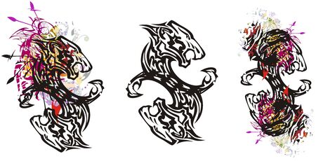Double tiger symbols with an arrows in grunge style. A flaming fantastic symbol formed by an aggressive tiger head and eagle elements with colorful floral splashes. Three options on a white background