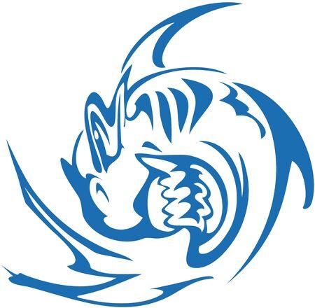 Blue shark symbol on a white backdrop. Aggressive twirled shark symbol for tattoo, prints on t-shirts, emblems, embroidery, textiles, wallpaper, etc. Ilustracje wektorowe