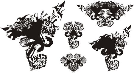 Tribal scary symbols with snakes. Fantastic symbols formed by a horse 's head and tiger' s head with elements of snakes. Silhouettes of unusual animals on a white background for your ideas 向量圖像