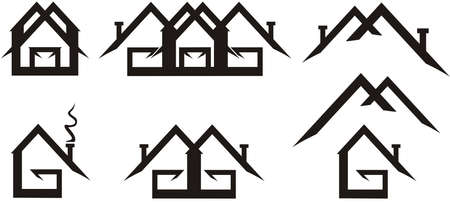 Real estate logos isolated on white. Geometric emblems of houses, stylized in the form of the letters G and M. Logo, flat, real estate, web icons. Black and white 向量圖像