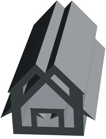 Gray 3d house on a white backdrop. Emblem, real estate, apartment, web icon. Home Geometry for Your Designs