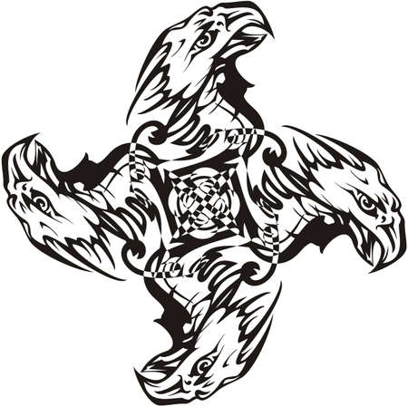 Tribal eagle cross creating illusion. Bald eagle cross as a symbol of power in black and white for emblems, tattoos, logos, embroidery, engraving, textiles, labels, prints on t-shirts, etc.