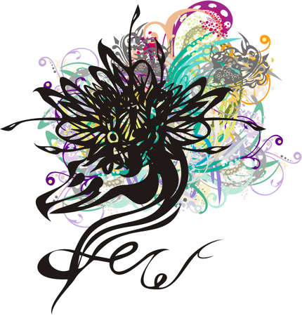 Beautiful heron head symbol. Twisted heron symbol with a flower on its head with colorful splashes for textiles, tattoos, greeting cards, emblems, prints on t-shirts, posters, wallpaper, etc.