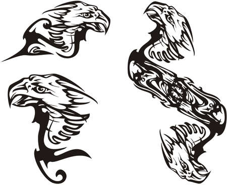 Scary black and white eagle symbols tattoo. Flaming bald eagle symbols of power for emblems, tattoos, logos, embroidery, engraving, textiles, labels, prints on t-shirts, vinyl cutting, wallpaper, etc.