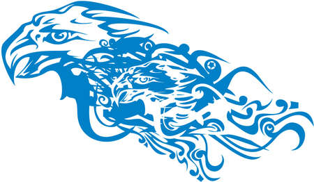 Blue flaming eagle head pattern. Abstract eagle head in wave shape for tattoo, embroidery, engraving, textiles, labels, posters, prints on t-shirts, etc.