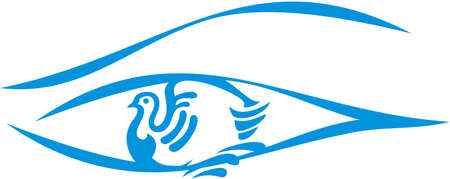 Dove inside the eye in blue and white. A symbol of peace for your ideas. Eye icon with a pigeon.  travel, fashion trends, etc.