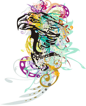 Splattered eagle symbol like a parrot. Abstract eagle head with colored floral splashes on a white background for wallpaper, prints, posters, tattoos, decorative compositions