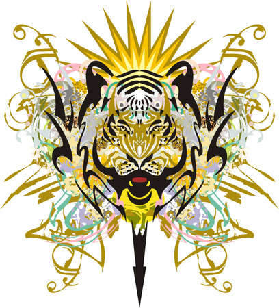 Growling tiger head colored and golden splashes. Grunge aggressive tiger head symbol with floral splashes and golden elements for tattoo art, textiles, wallpaper, posters, prints on T-shirts, etc. Çizim