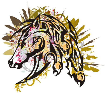 Grunge horse head with falcon splashes. Beautiful bright mustang head with floral, golden decorative and feathers elements for your creative ideas, posters, wallpaper, prints, tattoo, textile, etc.