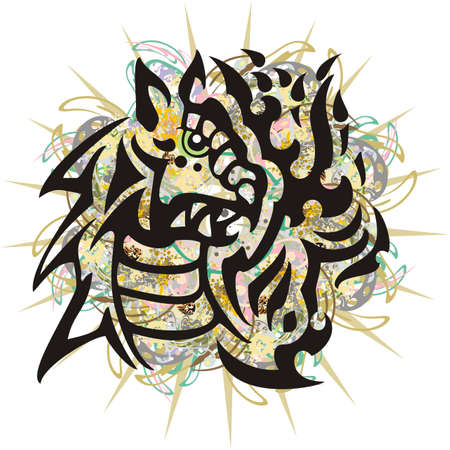 Splattered dragon head on a white backdrop. Aggressive flaming young dragon symbol with golden and decorative floral elements for posters, textiles, cards, wallpaper, tattoos, prints on T-shirts, etc. Çizim