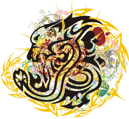 Tribal lion and snake colorful splashes. Twisted flaming lion's head with a snake with colored decorative elements for your creative ideas, prints on T-shirts, tattoos, wallpaper, textiles, etc.