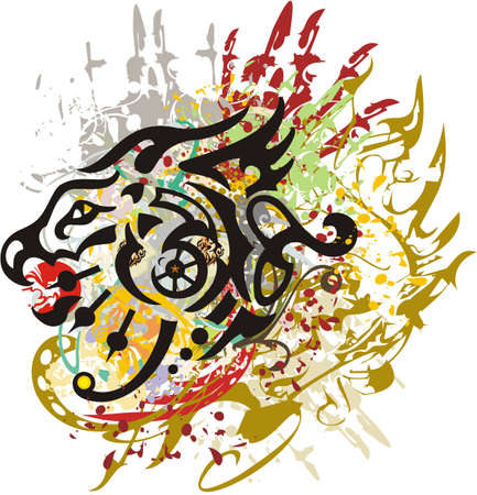 Splattered growling dragon head symbol. An abstract dragon head with colored decorative splashes on a white background for prints, tattoos, textiles, wallpaper, etc.