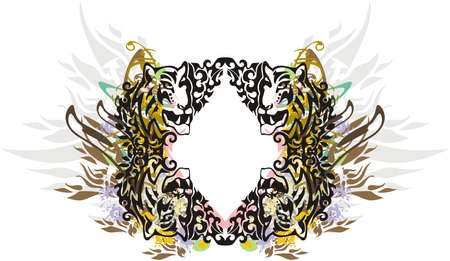 Tiger frame colorful floral splashes. Vintage frame formed by tiger heads and floral elements against the background of feathers and golden motives for holidays and events, decorative compositions