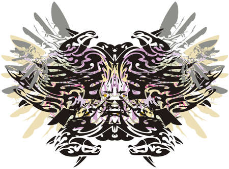 Colorful butterfly wings with floral and feathers splashes. A terrible butterfly on a white background with elements of eagle feathers and floral motifs for tattoos, prints, textiles, wallpaper, etc.