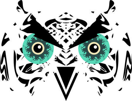Tribal owl head with huge green eyes. Scary carnival owl mask in black and white tones for holidays and events, tattoos, prints on T-shirts, posters, textiles, embroidery, stikers, wallpaper, etc.