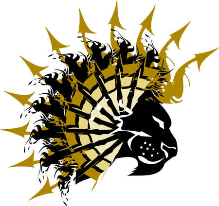 Lion head with golden arrows elements on the white. Lion symbol for vehicle graphics, logos, tattoos, sport emblems, prints on T-shirts, embroidery, engraving, textiles, stikers, web icons, etc.