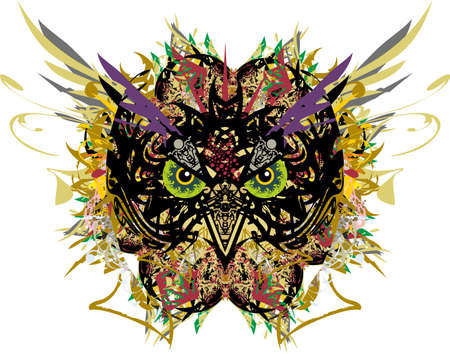 Splattered owl head with feathers and floral elements on white. Grunge carnival owl mask for holidays and events, tattoos, prints on T-shirts, posters, textiles, cards, wallpaper, etc.
