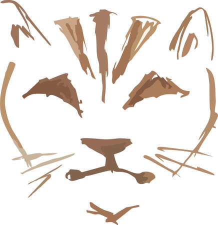 Cat head sketch on a white backdrop. Close-up cat head in brown shades for emblem, tattoos, embroidery, prints on T-shirts, textiles, logos, stikers, wallpaper, etc. Logo